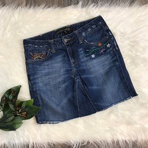 Lucky Legend Embroidered Denim Mini Skirt